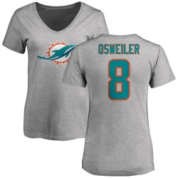 Women's Brock Osweiler Miami Dolphins Name & Number Logo Slim Fit T-Shirt - Ash