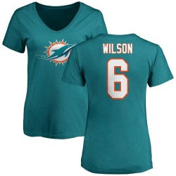 Women's Stone Wilson Miami Dolphins Name & Number Logo Slim Fit T-Shirt - Aqua