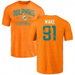 Youth Cameron Wake Miami Dolphins Orange Distressed Name & Number Tri-Blend T-Shirt