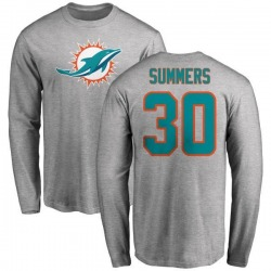 Youth Jamar Summers Miami Dolphins Name & Number Logo Long Sleeve T-Shirt - Ash