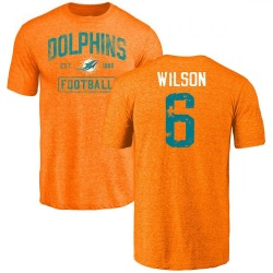 Youth Stone Wilson Miami Dolphins Orange Distressed Name & Number Tri-Blend T-Shirt